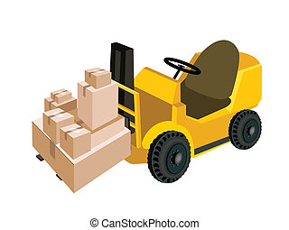 Forklift Truck Loading A Stack of Shipping Box - Powered...