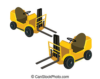 Two Powered Industrial Forklift Trucks on White Background -...