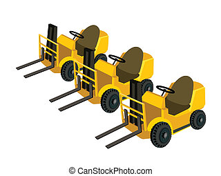 Three Powered Industrial Forklift Truck on White Background