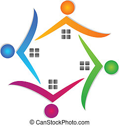 Houses teamwork around logo