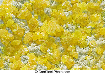 Sulphur Mineral Crystals - Photo of yellow sulphur crystals.