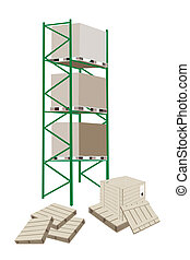 Cargo Shelf in A Warehouse With Shipping Box