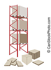 Cargo Shelf in A Warehouse With Crates