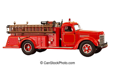 vintage fire truck - vintage red fire truck on a white...