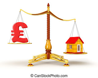 Justice Balance with Pound, house - Justice Balance with...