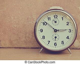 Trä, Årgång, gammal, bakgrund, klocka