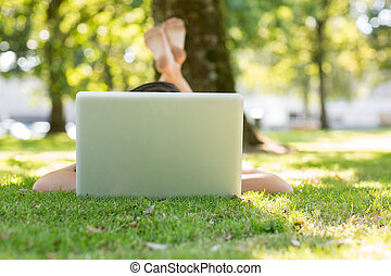 Brunette lying on the grass typing at her laptop in a park...