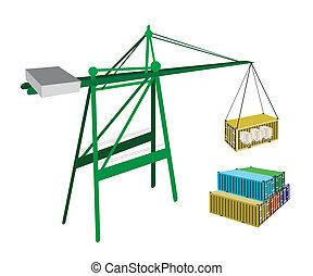 Cargo Container Being Hoisted By A Crane.