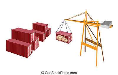Red Cargo Container Being Hoisted By A Crane.