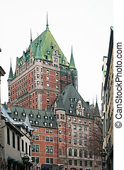 Chateau Frontenac - Quebec City chateau with green roof in...