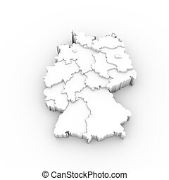 Germany map 3D white with states