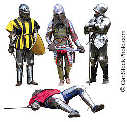 Knights - Collection of medieval knights isolated on white