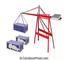 Shipping Container Being Hoisted By A Crane.