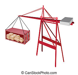 Red Shipping Container Being Hoisted By A Crane.