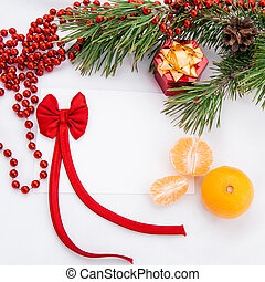 Christmas greeting card with a branch of tree and Christmas...