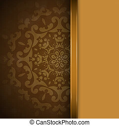 Brown background with ornament - Brown background with round...