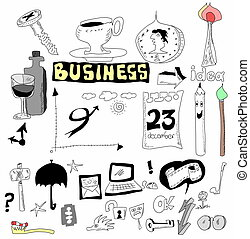 doodle set business icons