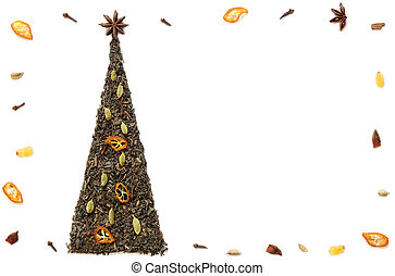 Christmas tree postcard made of tea and spices