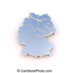 Germany map 3D metal with states