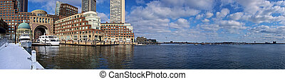 rowes wharf panorama - panoramic view of boston harbor with...