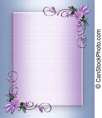 Wedding invitation border Lavender roses - Lavender roses...