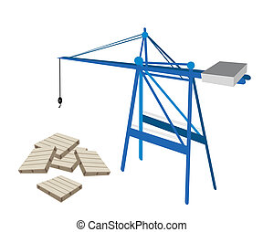 A Blue Mobile Crane with Stack of Wood Pallets