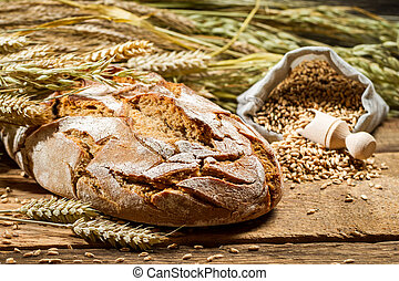 Freshly baked country bread