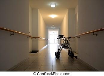 largo, pasillo, enfermería, hogar