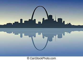 Saint Louis Downtown Riverfront - A silhouetted view of...