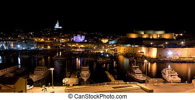 Marseille, France - 2013, November 2: A night view of the...