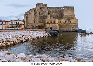 Castel dell'Ovo (Egg Castle) from Naples, Italy - Castel...