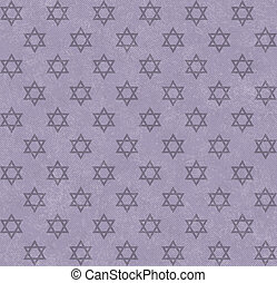 Purple Star of David Patterned Textured Fabric Background...
