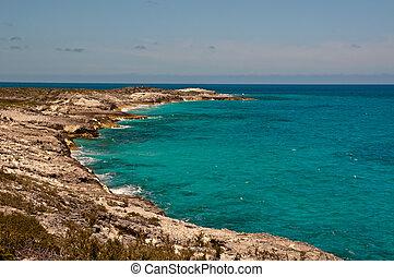 Rocky Tropical Coastline - Horizontal photo of a beautiful...