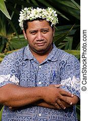 ritratto, polinesiano, Pacifico, isola, Tahitian, maturo,...