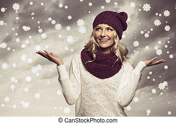 winter girl in white on grunge color