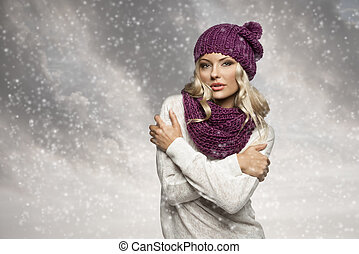 winter girl in white with purple hat and scarf