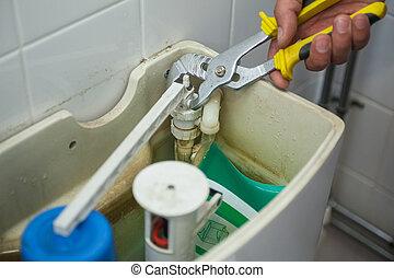 fim, cima, mão, reparar, Banheiro