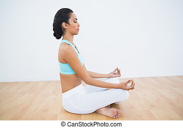 Lovely calm woman meditating in lotus position in fitness...