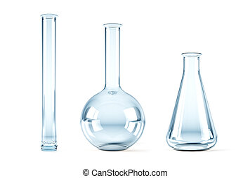 empty chemical flasks - isolated 3d rendering of the empty...