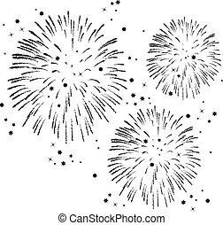 vector black and white fireworks background with stars and...