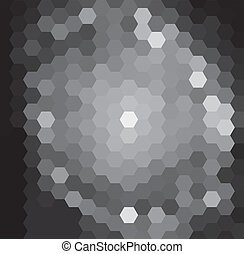 Dark Hexagonal Pattern - Vector background with black and...