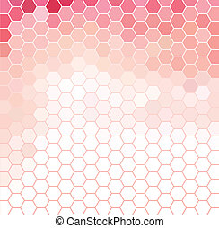 Pink and white hexagonal grid - Vector background with pink...