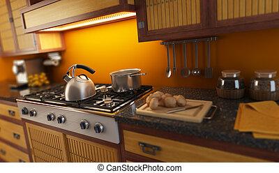 3D, fazendo, close-up, vista, modernos, cozinha, pequeno,...