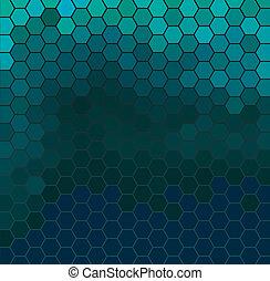 Emerald hexagonal grid - Vector background with dark emerald...