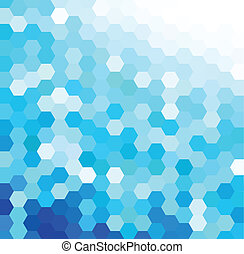 Blue Hexagonal Pattern - Vector background with blue and...