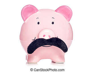 Movember - piggy bank wearing a fake moustache