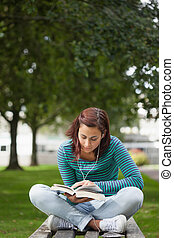 Focused casual student sitting on bench reading on campus at...