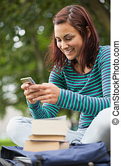 Cheerful casual student sitting on bench texting on campus...