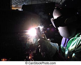 SMAW welding - Welder is welding using SMAW method