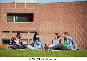 Four casual students sitting on the grass chatting on campus...
